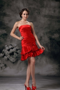 Red Mini-length Prom Graduation Holiday Dress