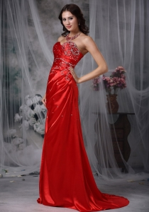 Low Price Red Beading Shimmering Pageant Evening Dress