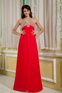 Sweetheart Red Floor-length Chiffon Beading Prom Evening Dress