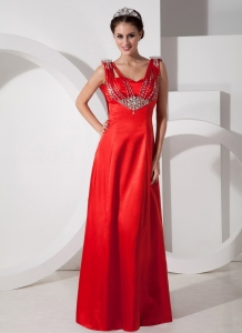 Empire Red Beading Pageant Dress On Sale