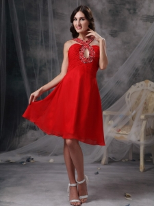 Red Haler-top Beading Mini-length For Prom Holiday