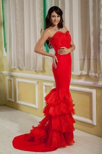 Sweetheart Brush Train Red Mermaid Prom Evening Dress