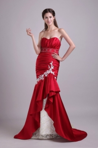 Wine Red Mermaid Applique Beading Prom Evening Dress