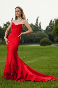 Affordable Red Mermaid Evening Celebrity Dress