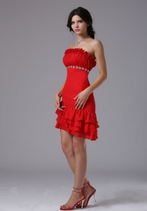 Red Strapless Beaded Prom Holiday Dresses Mini-length
