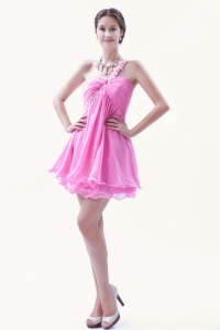 Rose Pink One Shoulder Beading Cocktail Homecoming Dress