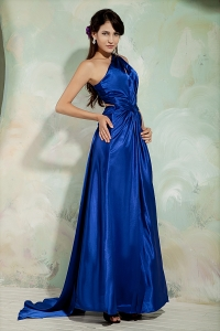 One Shoulder Royal Blue Prom Evening Dress with Ruch