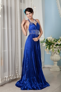 Royal Blue Empire Halter Beading Evening Dress