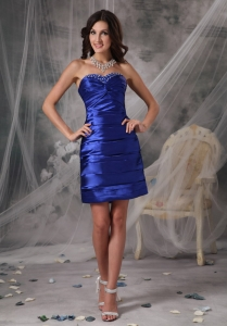 Royal Blue Knee-length Shimmering Prom Homecoming Dress