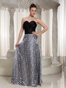 Ruched Sweetheart Leopard Pageant Dress Floor-length
