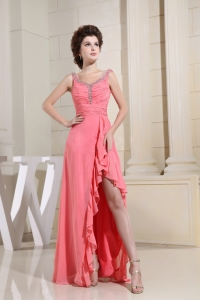 High-low Ruched Beading Prom Dress In Watermelon