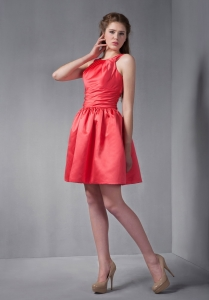 Scoop Red A-line Mini-length Ruched Prom Graduation Dress