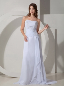 Column Brush Chiffon Beading Pageant Evening Dress