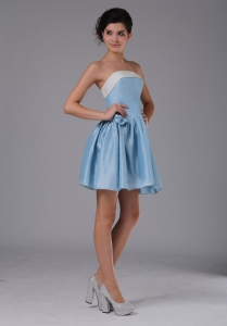 Light Blue Strapless Mini-length Prom Graduation Dress