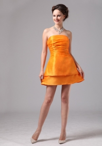 Orange Mini-length Prom Graduation Cocktail Dress