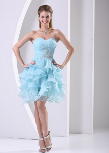 Ruffles Aque Blue Sweetheart Ruched Homecoming Cocktail Dress