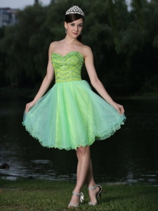 Beaded Sweetheart Green Prom Homecoming Dress