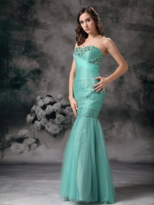 Turquoise Column Mermaid Beaded Pageant Evening Dress