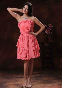 Chiffon Short Prom Homecoming Dress With Flowers