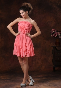 Watermelon Knee-length Hand Made Flowers Prom Dress