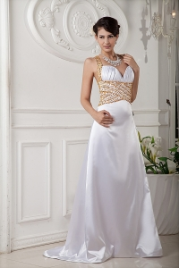 2013 White Evening Dress With Gold Beadings