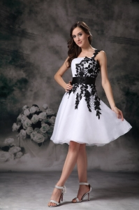 White One Shoulder Mini-length Organza Lace Homecoming Dress