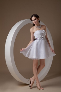 White Mini-length Prom Holiday Dress with Flowers