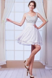 Beaded Chiffon Short White Cocktail Holiday Dresses