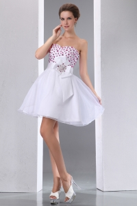 A-line Sweetheart White Mini-length Beaded Prom Dresses