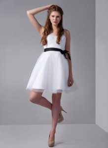 White V-neck Mini-length Prom Dress with Black Bow