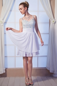 Straps Mini-length White Beaded Cocktail Homecoming Dresses