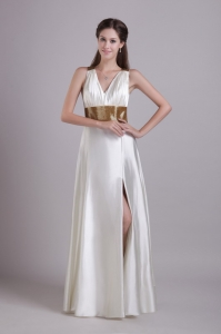 V-neck White Elastic Woven Evening Dress