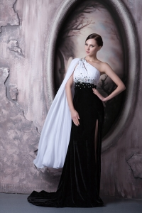 White and Black One Shoulder Pageant Dress Brush Train Beading