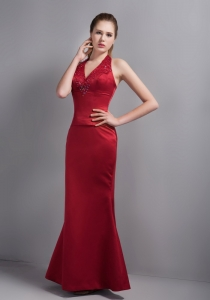 Wine Red Mermaid Halter Ankle-length Beading Evening Dress