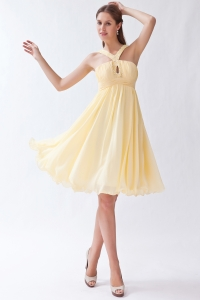Yellow Empire Knee-length Cocktail Graduation Prom Dress