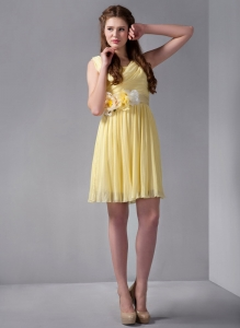 Yellow V-neck Mini-length Chiffon Prom Dress Hand Made Flower