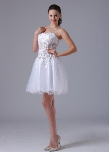 White Beaded A-line Sweetheart Appliques Prom Dresses