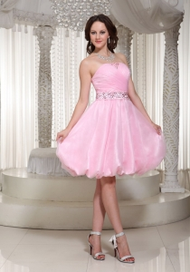 Graduation Cocktail Dress Baby Pink with Beading