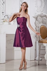 Beading Sweetheart Knee-length Prom Homecoming Dress Purple