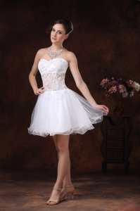 Appliques Sweetheart Knee-length White Holiday Cocktail Dresses