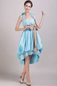 Aqua Blue A-Line / Princess Halter High-low Bowknot Prom Dress