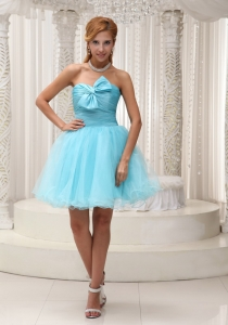 Aqua Blue Graduation Cocktail Dress Mini-length