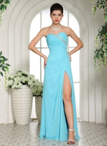 Beaded Aqua Blue High Slit Sweetheart Pageant Dress Ruch