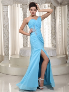 One Shoulder Floor-length Beading Pageant Dress Aqua