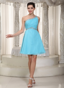 Aqua One Shoulder Mini-length Beading Prom Dress