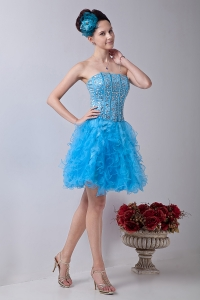 Baby Blue Strapless Mini-length Beading Homecoming Dress