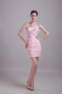 Strapless Mini-length Hand Flowers Cocktail Dresses Baby Pink