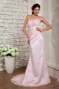 Baby Pink Lace Beading Evening Dress Sweetheart Brush Train
