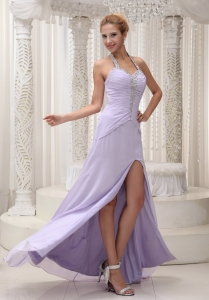 Halter Ruched Lilac High Slit Beaded Pageant Dress Chiffon