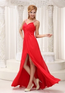 Floor-length Pageant Dress Beaded Straps High Slit Red
